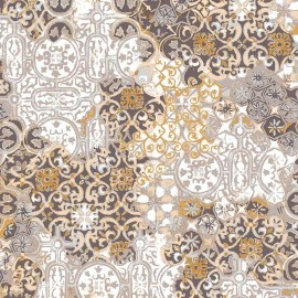 Fata de masa impermeabila Casa de bumbac, Tiles, diametru 140 cm, Model geometric, bej