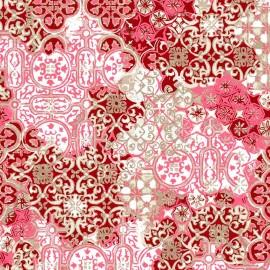 Fata de masa impermeabila, Casa de bumbac, Tiles, diametru 140 cm, rosu