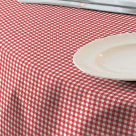 Fata de masa anti-pete Casa de bumbac, Menorca, 220x 140 cm, patratele mari, rosu si alb