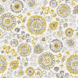 Set Cuvertura cu doua pernute, Matlasata, Luxurio, Turandot galben cu uni, 220x240 cm, gri