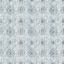 Set Cuvertura cu doua pernute, Matlasata ,Luxurio,  Rivoli albastru cu uni 220x240 cm