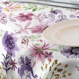 Fata de masa impermeabila, diametru 140 cm Casa de bumbac, Adele 301 model floral, mov