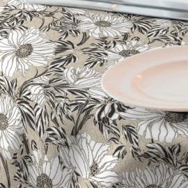 Fata de masa impermeabila, 220x140 cm Casa de bumbac, Ophelia model floral ,negru si alb