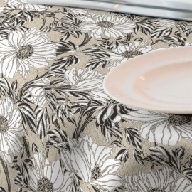 Fata de masa impermeabila, diametru 140 cm Casa de bumbac, Ophelia model floral ,negru si alb