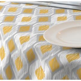 Fata de masa impermeabila, 220x140 cm Casa de bumbac, Raute 201 model geometric,galben si gri