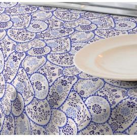 Fata de masa impermeabila (teflonata) Casa de bumbac, Ona diametru 140 cm, alb si albastru