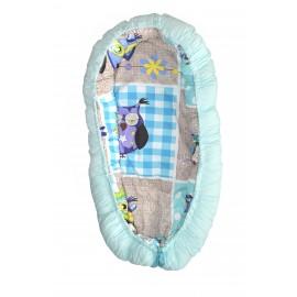 Baby nest, patut portabil, culcus bebe, 0-9 luni, lavabil, 2 fete, bufnite albastre