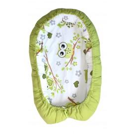Baby nest, patut portabil, culcus bebe, 0-9 luni, lavabil, 2 fete, bufnite verzi