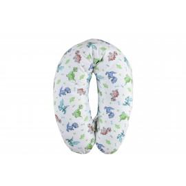 Perna gravida Extra Large, Multifunctionala, pentru dormit, alaptat si sezut, Husa Detasabila bumbac, Lavabila, dinozauri