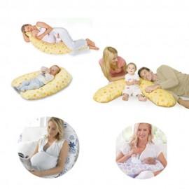 Perna gravida Extra Large, Multifunctionala, Husa Detasabila bumbac, Lavabila, elefanti roz