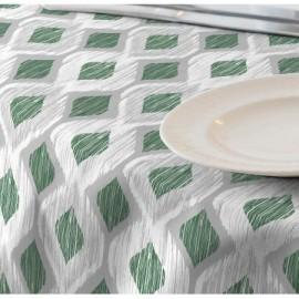 Fata de masa impermeabila, 100x140 cm Casa de bumbac, Raute 301 model geometric, verde si gri