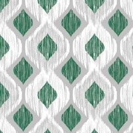 Fata de masa impermeabila, 220x140 cm Casa de bumbac, Raute 301 model geometric, verde si gri
