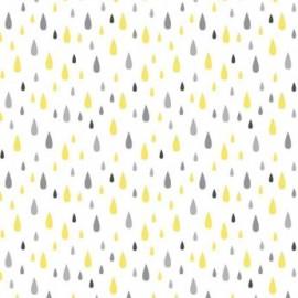 Fata de masa impermeabila (teflonata) Casa de bumbac, Pluie, 220x140 cm,  galben cu gri