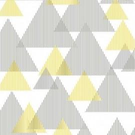 Fata de masa impermeabila (teflonata) Casa de bumbac, Hipster, 220x140 cm, triunghiuri galben cu gri