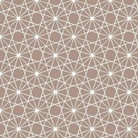 Fata de masa impermeabila, 180x140 cm Casa de bumbac, Kenzo model geometric bej si alb