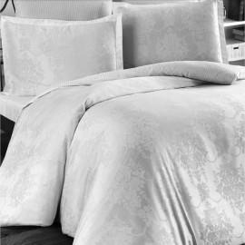 Lenjerie de pat, bumbac 100% satinat (jacquard), pat extra-dublu, alb 2