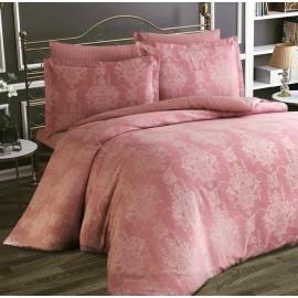 Lenjerie de pat, bumbac 100% satinat (jacquard), pat extra-dublu, roz