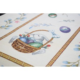 Set 2 fete de perna decorative cu decor de Pasti, tesatura tip goblen, 45x45 cm, iepurasi