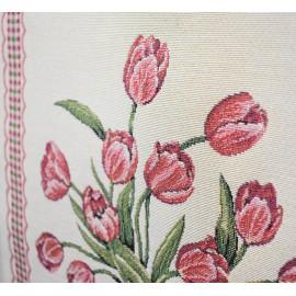 Set 2 fete de perna decorative, tesatura tip goblen, 45x45 cm, flori si randunele