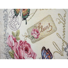 Set 2 fete de perna decorative, tesatura tip goblen, 45x45 cm, trandafiri