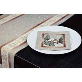 Traversa/Napron   (+6 servetele)40x100 cm, tesatura tip goblen, set Tablou Craciun
