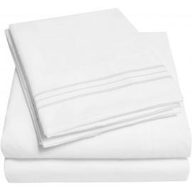 Set lenjerie de pat, cearceaf cu elastic, brodata, bumbac 100%