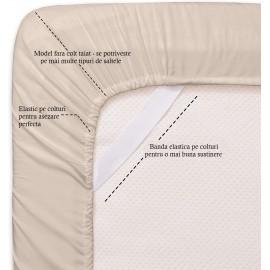 Set lenjerie de pat, cearceaf cu elastic, brodata, bumbac 100%, visiniu