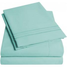 Set lenjerie de pat, cearceaf cu elastic, brodata, bumbac 100%, lila