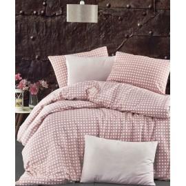 Set lenjerie de pat, cearceaf cu elastic, bumbac 100%, Buline, gri