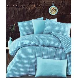 Set lenjerie de pat, cearceaf cu elastic, bumbac 100%, Buline, roz