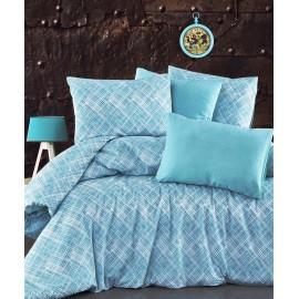 Set lenjerie de pat, cearceaf cu elastic, bumbac 100%, Buline, verde