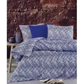 Set lenjerie de pat, cearceaf cu elastic, bumbac 100%, dungi, gri