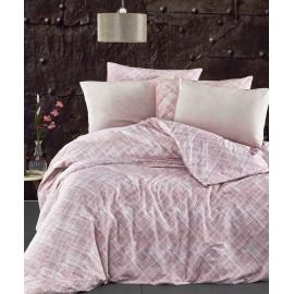 Set lenjerie de pat, cearceaf cu elastic, bumbac 100%, dungi, bleumarin