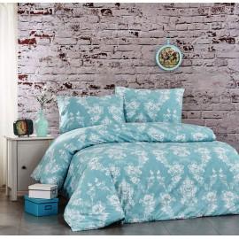 Set lenjerie de pat, cearceaf cu elastic, bumbac 100%, Floral roz