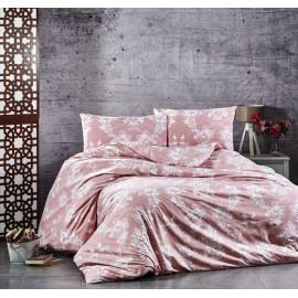 Set lenjerie de pat, cearceaf cu elastic, brodata, bumbac 100%, mov inchis
