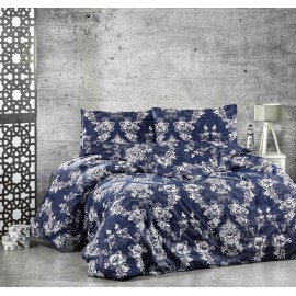 Set lenjerie de pat, cearceaf cu elastic, bumbac 100%, Floral verde