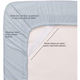 Set lenjerie de pat, cearceaf cu elastic, bumbac 100%, Floral bleumarin