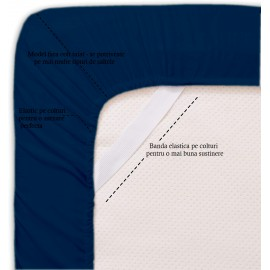 Set lenjerie de pat, cearceaf cu elastic, bumbac 100%, Floral gri
