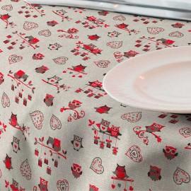 Fata de masa anti-pete Casa de bumbac, Gufo, 100x140 cm, Model bufnite rosii