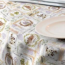 Fata de masa impermeabila ,220x140 cm Casa de bumbac, Arles ,Model vintage, lavanda, bej
