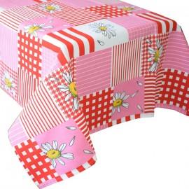 Fata de masa bumbac 100%, 180x150 cm, Casa de bumbac, Floral, Rosu si alb