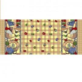 Fata de masa bumbac 100%, 180x150 cm, Casa de bumbac, Cescute, Maro si bej