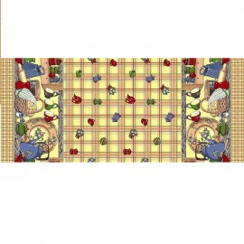 Fata de masa bumbac 100%, 100x150 cm, Casa de bumbac, Cescute, Maro si bej