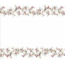 Fata de masa in si bumbac, 100x160 cm, Colectia Luxurio, Kubaba, alb cu model floral multicolor