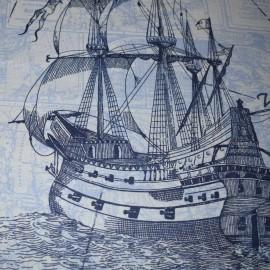 Lenjerie patut bumbac 100%, 3 piese, tema marina, bleu si bleumarin
