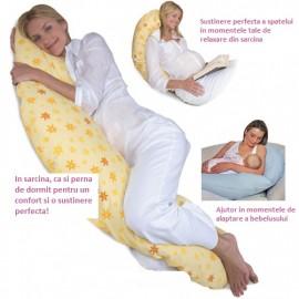 Perna gravida Extra Large, pentru dormit, alaptat si sezut, Husa Detasabila bumbac, Lavabila, dungi, verde si alb