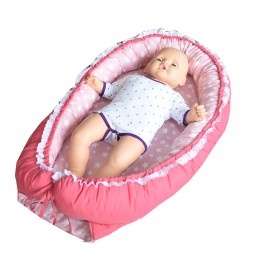 Baby nest, patut portabil, culcus bebe, 0-9 luni, lavabil, 2 fete, stelute, roz