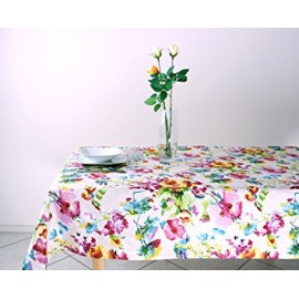 Fata de masa anti-pete Casa de bumbac, Miranda, Rotunda, diametru 140 cm, Model floral, multicolor